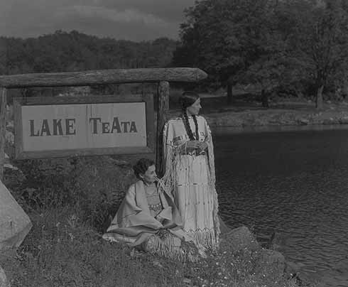 Te Ata and her sister, Selena, at Lake Te Ata, Bear Mountain, New York.