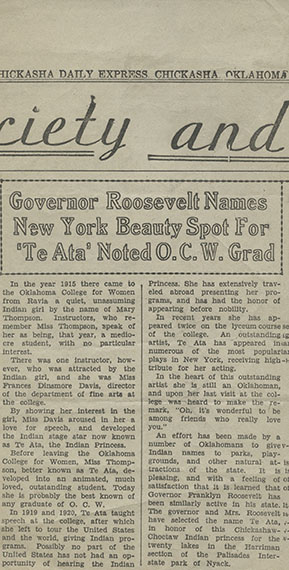 Governor Roosevelt Names New York Beauty Spot For 'Te Ata' Noted O.C.W. Grad