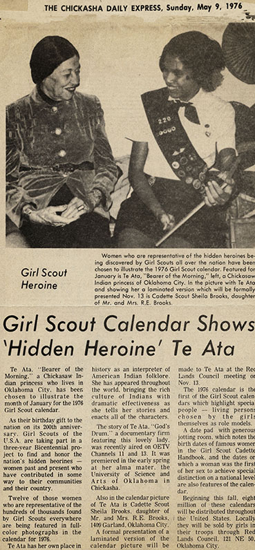 Girl Scout Calendar Shows 'Hidden Heroine' Te Ata